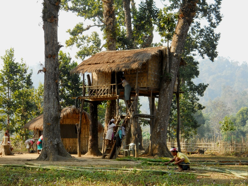 22a traditional bamboo hut- local name              ' Chang ghar'