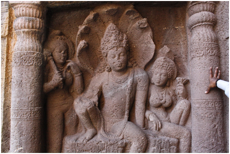 High Relief Sculpture of Nagaraja and his queen, Cave 19, Ajanta