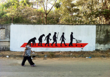 Evolution of Man | Stencils and Spray Paint. Phoenix Market City, Kurla, Mumbai.