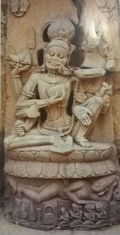 Cosmic Lotus arising from the navel of the corpse/Śava as Puruśa. Kapotesvara Temple, Orissa, 10th century.