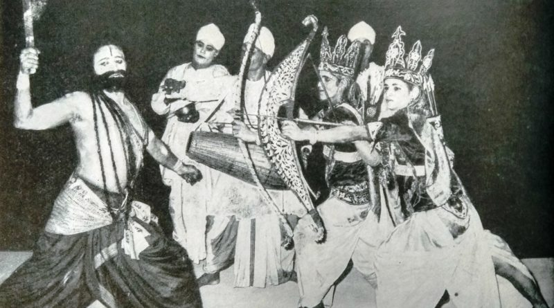 a scene from Ram-Vijaya showing the encounter of Rama and Lakshmana with Parasurama